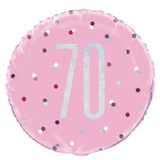 Pink Glitz  '70th' Foil Balloon